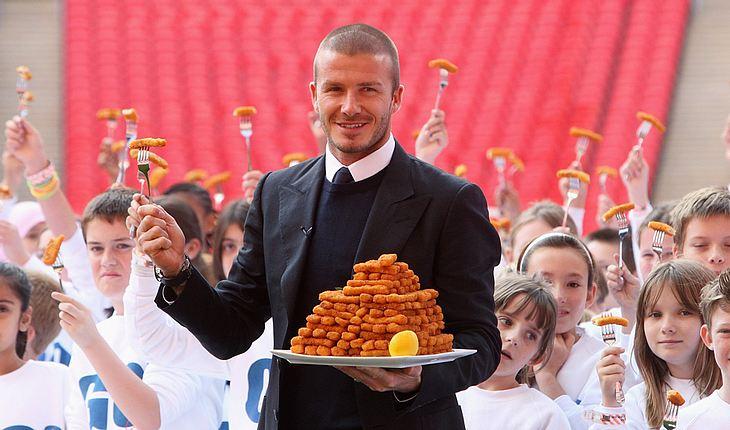 """Fischstäbchen Marke David Beckham: In London machte der Kicker Werbung für seine Lebensmittellinie """"GO3"""""""