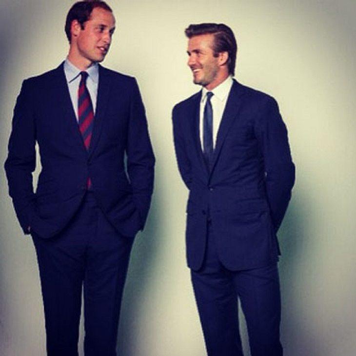Prinz William und David Beckham gemeinsam vor der Kamera