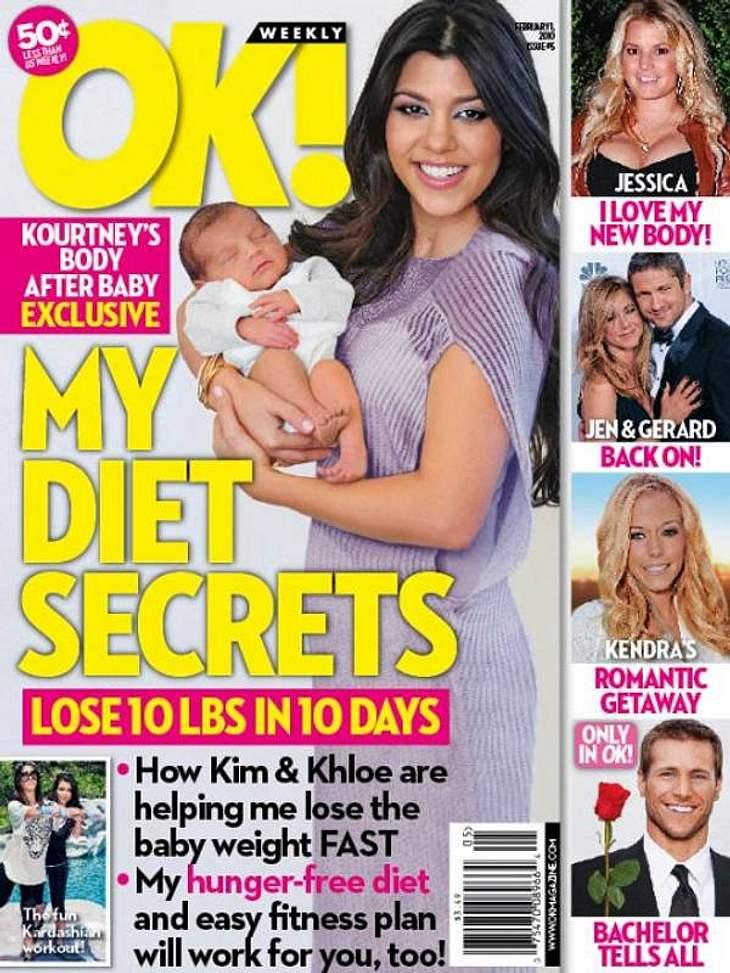 Auf dem Cover sind die Baby-Pfunde von Kourtney Kardashian plötzlich weg - auf der Hüfte allerdings noch lange nicht!
