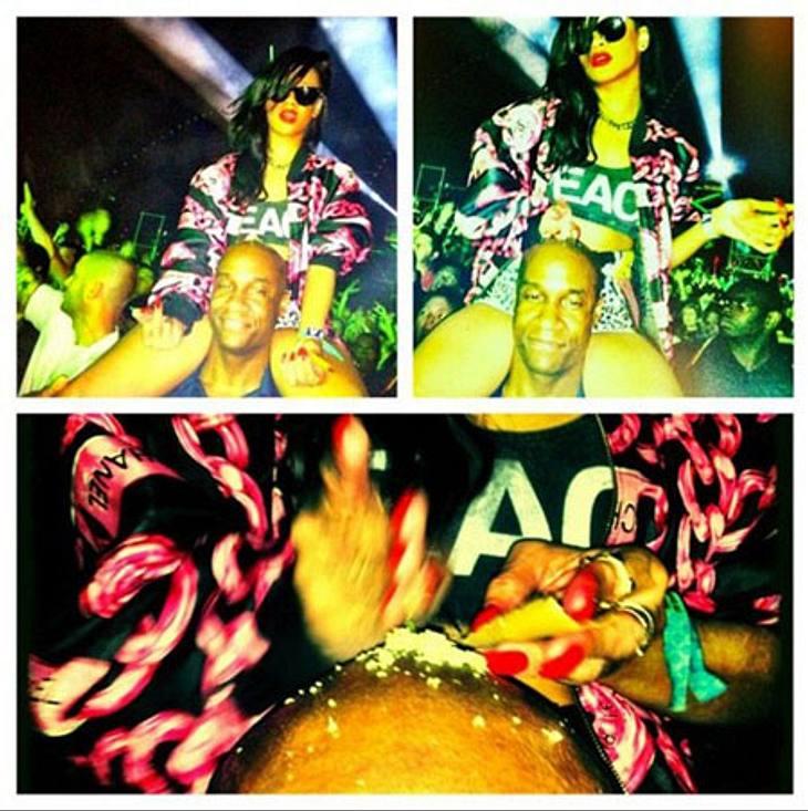 Rihanna verteilt ein weißes Pulver auf dem Kopf ihres Bodyguards