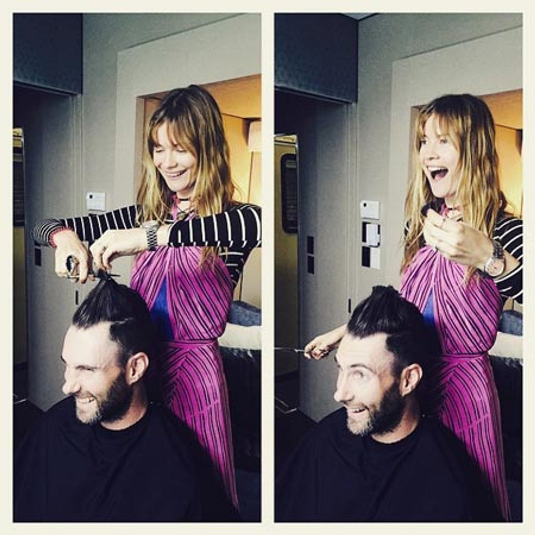 Adam Levine und seine Friseurin/Frau Behati