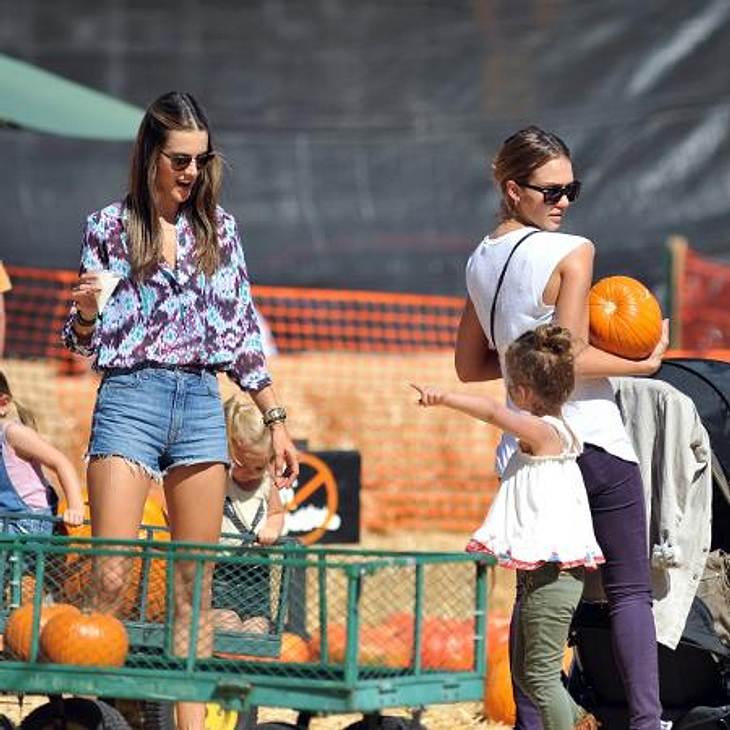 Happy Halloween! Stars im Kürbis-FieberStars unter sich: Jessica Albas Tochter Honor (4) zeigt Alessandra Ambrosio, wo die besten Kürbisse zu finden sind.