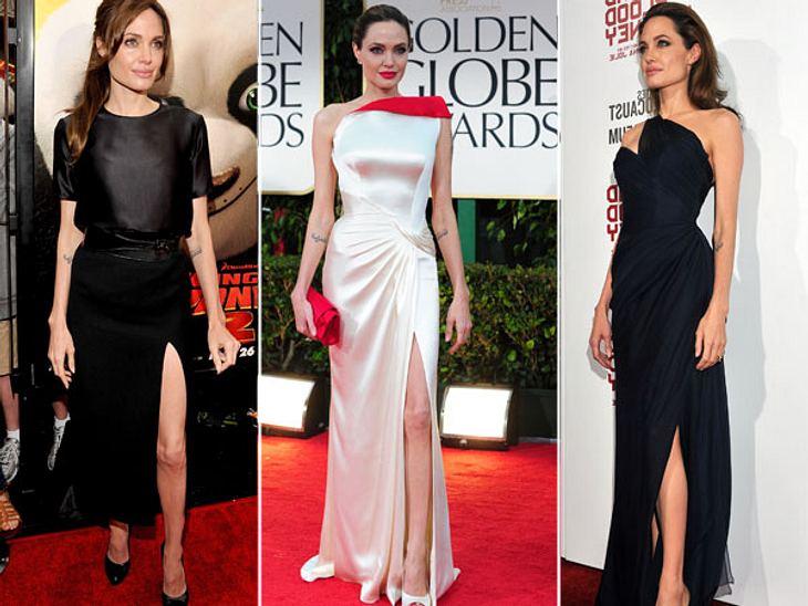 Diese Stars posen immer gleichDiese Bilder beweisen: Angelina Jolie hat ein Faible für geschlitzte Kleider! Wann immer die Schauspielerin den roten Teppich betritt, lugt ein Bein neckisch aus dem Stoff hervor.