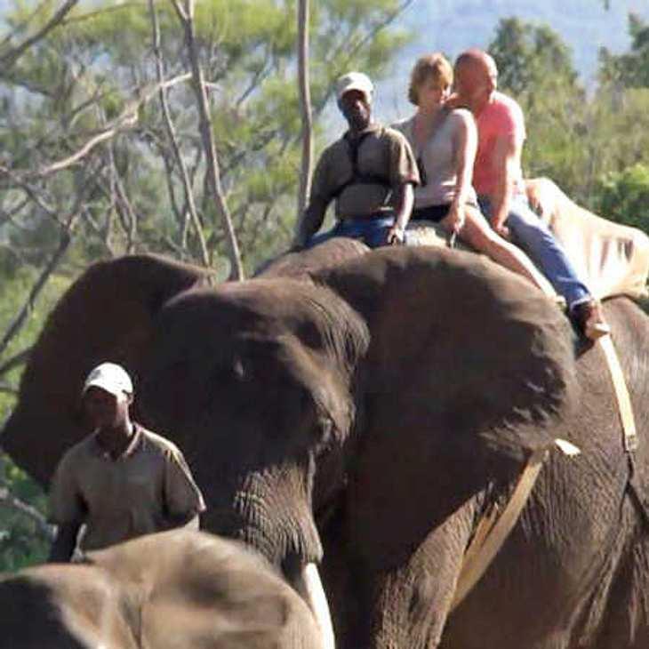Christian und Lisa reiten auf einem Elefanten