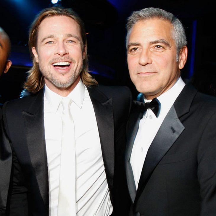 Brad Pitt wird Patenonkel von George Clooneys Zwillingen