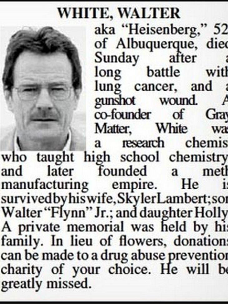 Breaking Bad Star Walter White bekommt echte Todesanzeige!