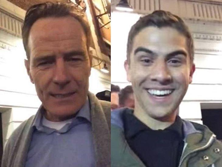 Stefan (rechts) ist überglücklich, dass Bryan Cranston ihm geholfen hat.