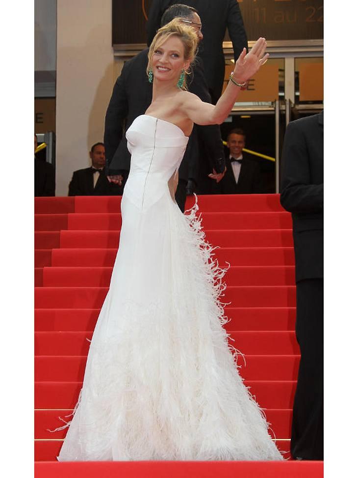 Cannes Uma Thurman in einem atemberaubenden Kleid.