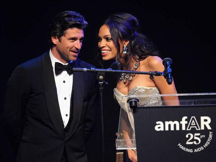 CannesAuch die amfaR-Gala findet zur Cannes-Filmfestspielzeit statt. Hier halten Patrick Dempsey und Rosario Dawson eine Ansprache.