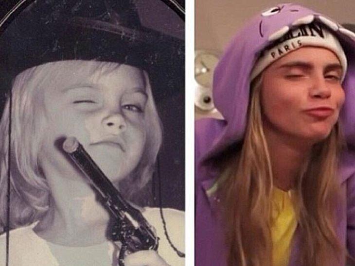 """Sie zieht noch immer die gleiche Grimasse! Top-Model Cara Delevingne postete bei Instagram eine Collage, aus einem Kinderfoto und einem aktuellen Foto. Dazu schrieb sie kurz: """"'nochange"""". Wo sie recht hat, hat sie recht..."""