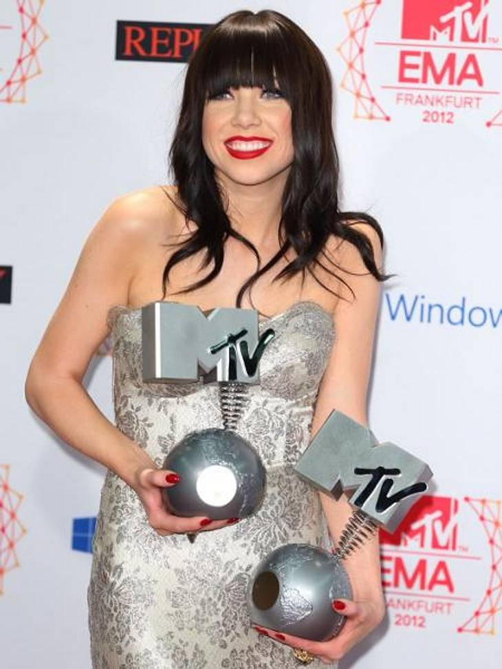 """MTV Europe Music Awards 2012 - Die HighlightsFür ihren Ohrwurm """"Call Me Maybe"""" wurde Carly Rae Jepsen (26) in der Kategorie """"Bester Song"""" geehrt."""