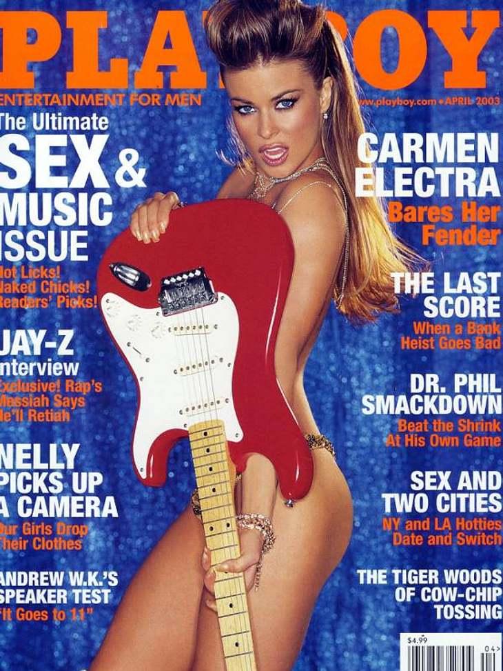 Carmen Electra und ihr musikalischer Nackt-Auftritt auf dem amerikanischen Playboy-Cover aus dem Jahr 2003.Insgesamt zog sich die Baywatch-Nachfolgerin von Pamela Anderson drei mal für den Playboy aus.,