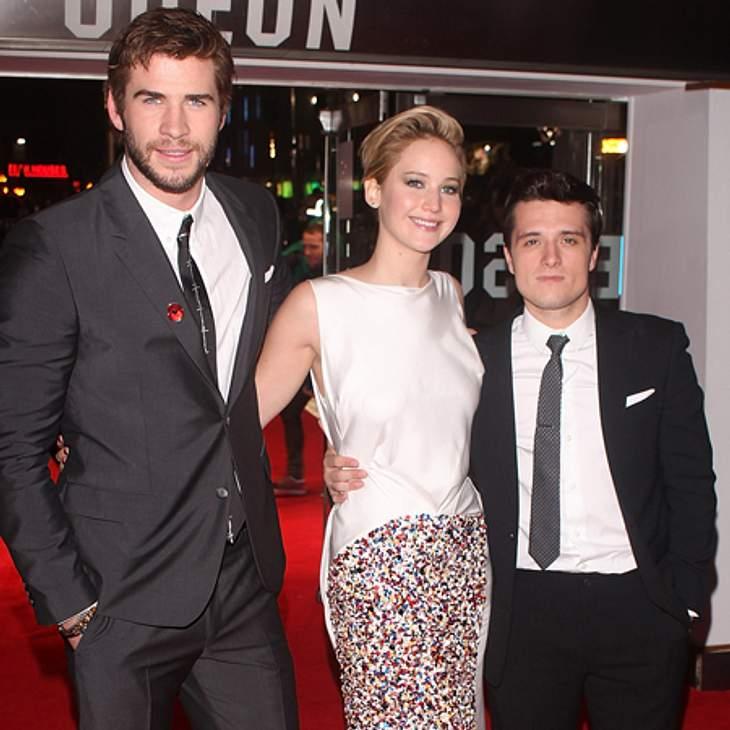 """Jennifer, Liam und Josh plaudern ein bisschen über die Dreharbeiten zu """"Catching Fire""""."""