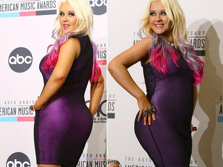 """""""Ich bin fett, kommt drüber hinweg!"""", sagte Christina Aguilera (31) kürzlich in einem Interview. Wir sagen: In so einem Outfit? Niemals!"""