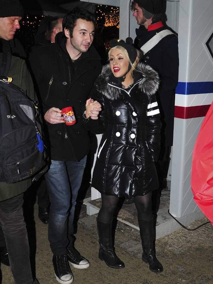 Christina Aguilera und Matt beim Glühwein schlürfen