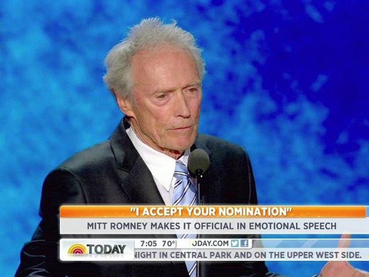 Obama vs. Romney: Welchen Präsidenten wählen die Stars?Einer, der bekennender Republikaner ist und sich aktiv für Mitt Romney einsetzt ist Schauspieler Clint Eastwood.,