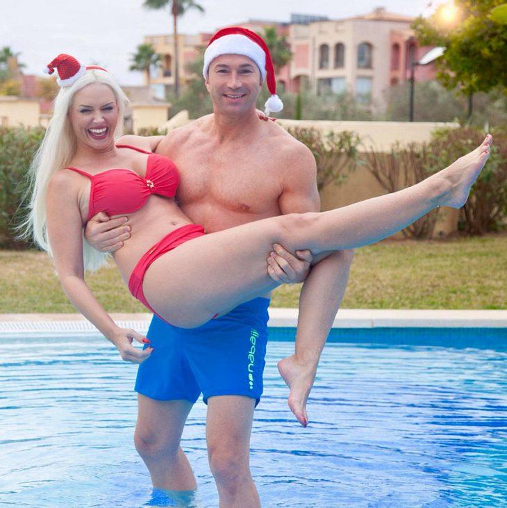 Daniela Katzenberger posiert zur Weihnachtszeit im Bikini