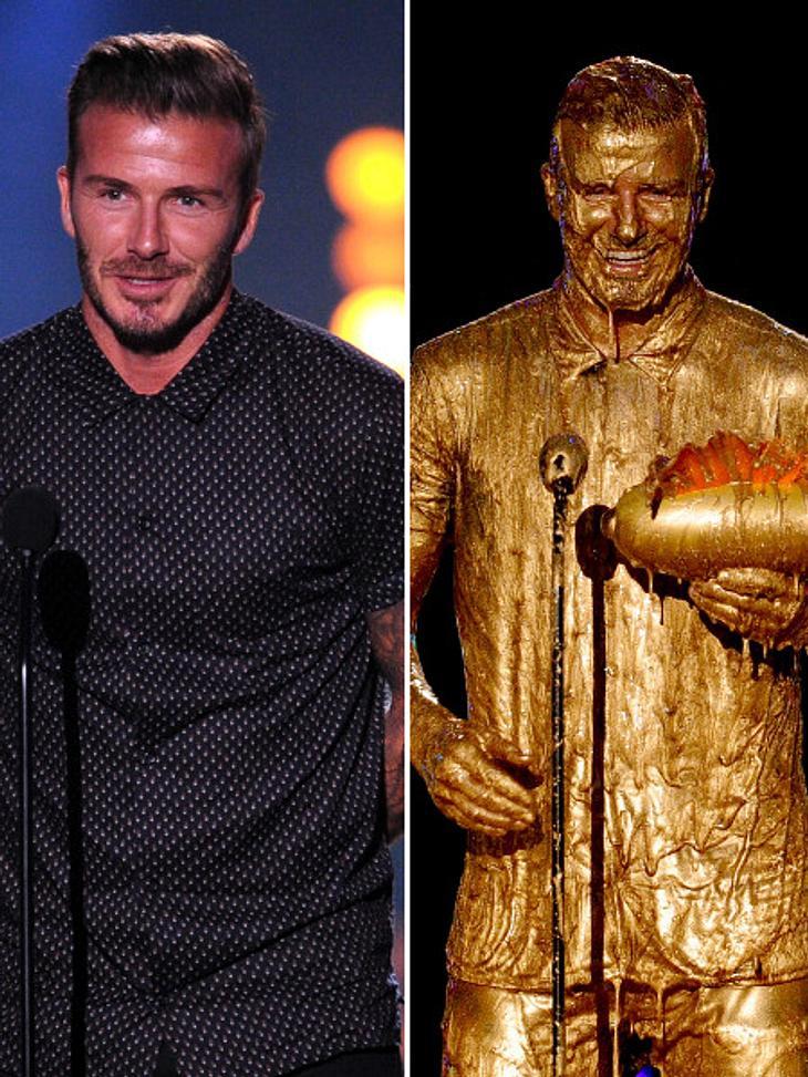 """David Beckham wurde mit Gold """"verziert""""."""