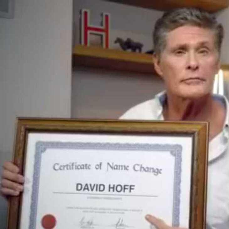 The Hoff macht Ernst: David Hasselhof ändert seinen Namen!