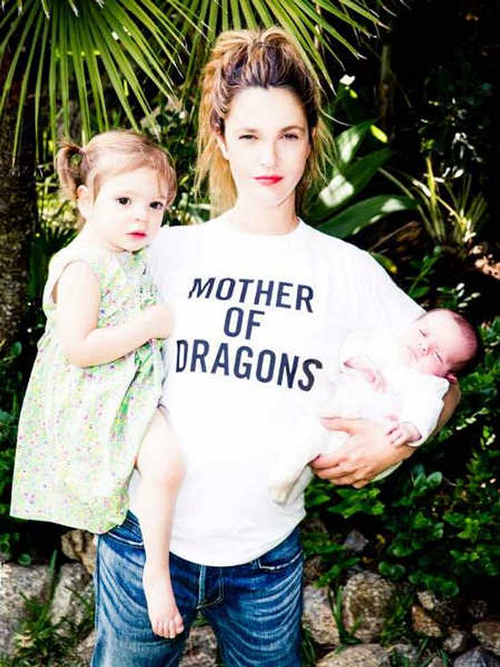 Drew Barrymore mit ihren Töchtern Olive und Frankie.