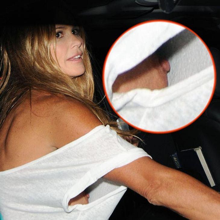 Noch schlimmer bei Elle Macpherson:  Das Supermodel stellt einfach gleich seine nackte Brust zur Schau.