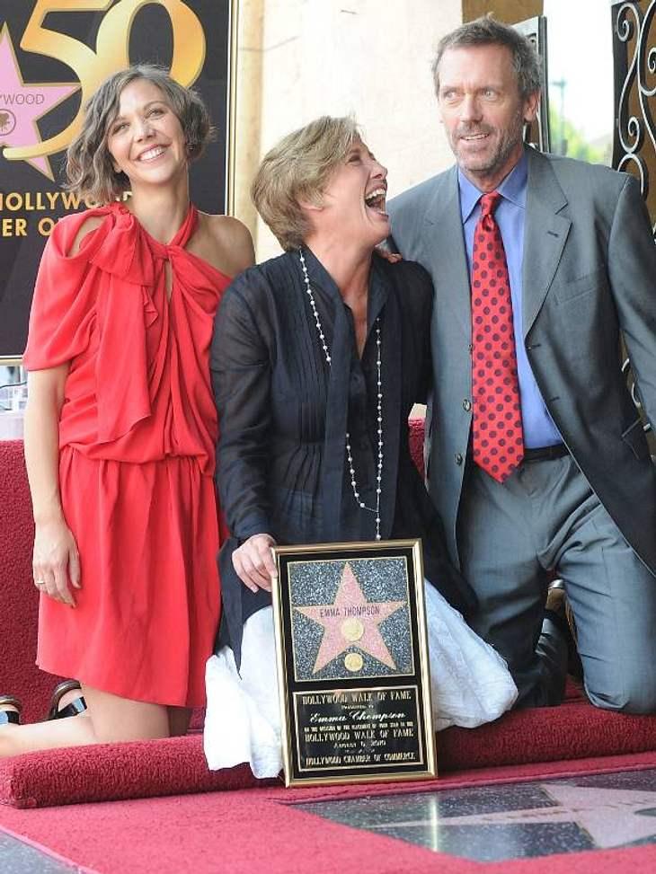 Walk of Fame: Die Sternstunde der Stars,Überschäumende Freude brach auch bei der Stern-Enthüllung von Emma Thompson (62) aus. Unterstützung bekam sie von Maggie Gyllenhaal (34) und Hugh Laurie (52).