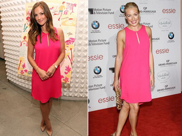 """Zwei Stars, ein Kleid: Diese Stars tragen die gleichen Klamotten!TV-Star Minka Kelly (32, """"Charlie's Angels"""") sieht in ihrem Kleid von 3.1 Phillip Lim ganz süß aus, lässt allerdings kein Fashion-Herz höher schlagen. Bei Moderatori"""