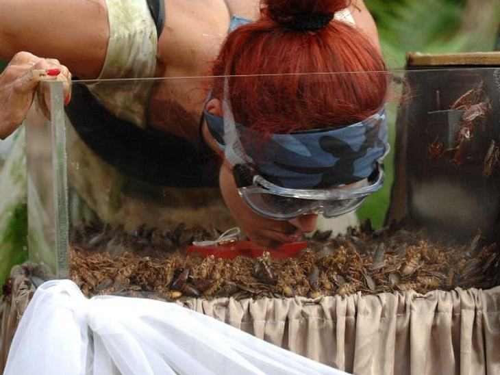 Fiona Erdmann - der Dschungel-HungerhakenReis und Bohnen kann sie nicht bei sich behalten - Würmer und Kakerlaken schon eher...