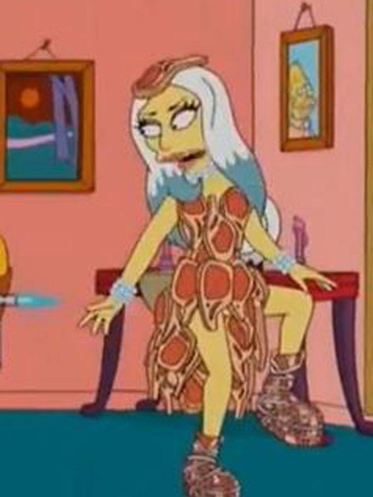 Lady Gaga hat selbst ihr fleischiges Kleid mit nach Springfield genommen, ob Homer widerstehen kann?