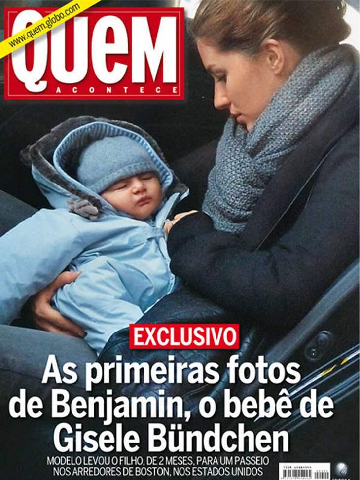 """Auf dem Cover der """"Quem"""" wird das erste Foto des Bündchen Nachwuchses präsentiert."""