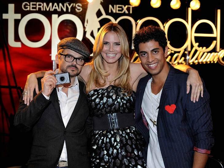 """Über-Model Heidi Klum umrahmt vom aktuellen Jury-Ensemble: Fotograf Kristian Schulle und Audigiers Marketing-Manager """"Q"""""""
