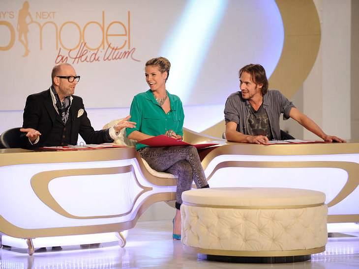 Die GNTM-Jury bei der Arbeit: Thomas Rath, Heidi Klum und Thomas Hayo.