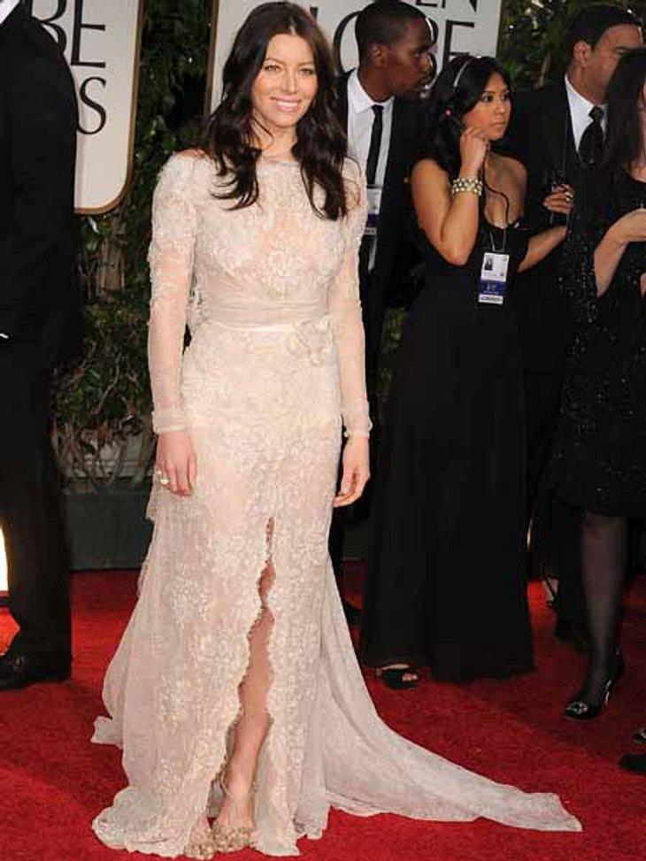 Golden Globes 2012Jessica Biel (29) ist frisch verlobt, kam aber ohne Justin Timberlake (30).