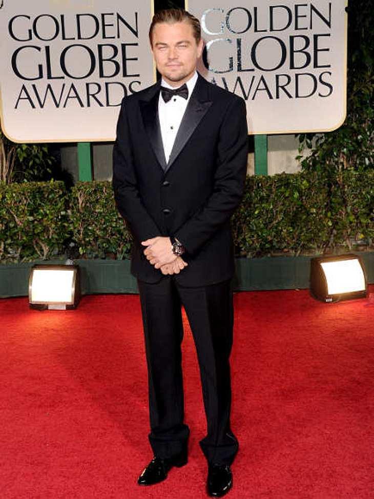 Golden Globes 2012Leonardo DiCaprio (37) war ohne Model Erin Heatherton (21) unterwegs und wirkte etwas verloren auf dem roten Teppich.