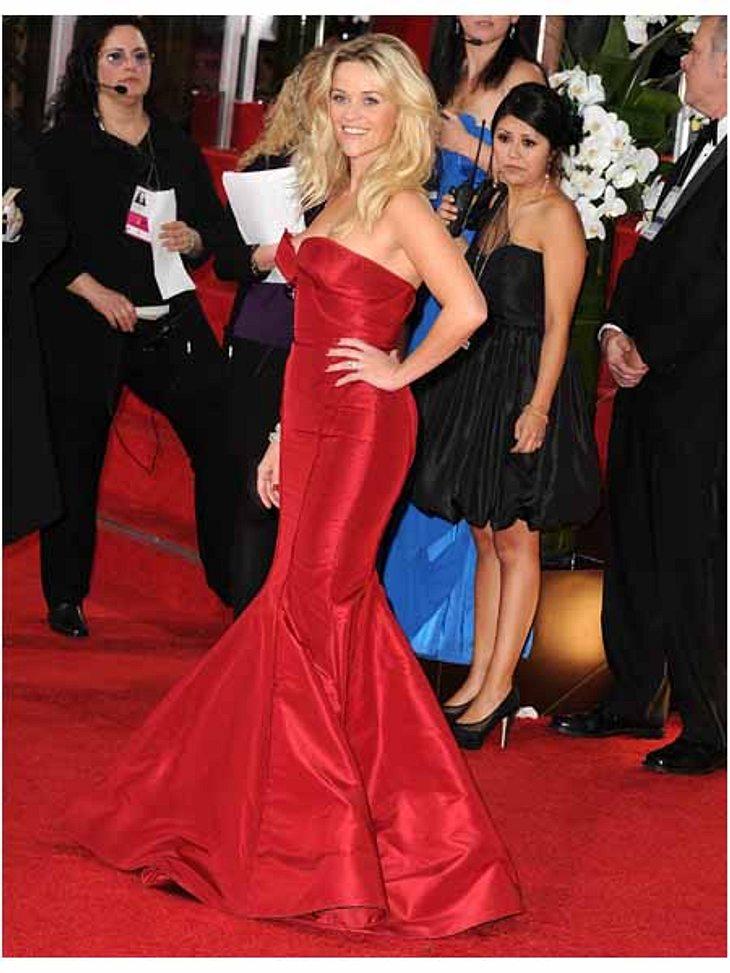 Golden Globes 2012Reese Witherspoon (34) überstrahlte in ihrer roten Traumrobe alle.