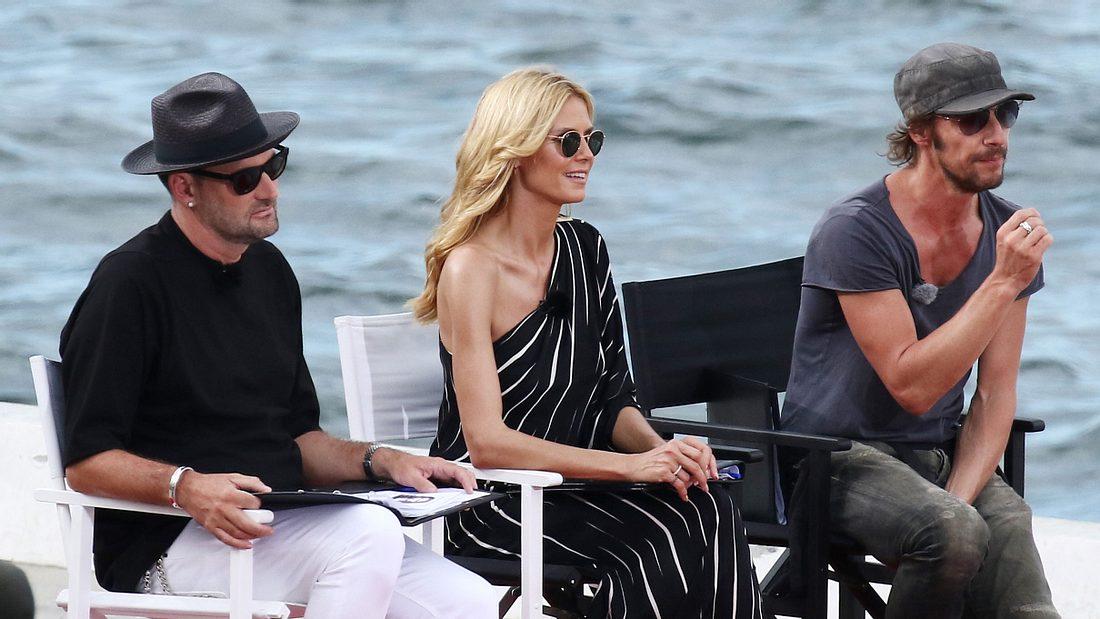 Heidi Klum mit den Juroren Thomas Hayo und Michael Michalsky