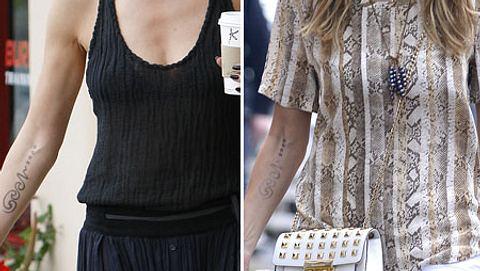 Heidi Klum im Juni 2012 und am 24.6.2013. Das Tattoo ist deutlich heller geworden. - Foto: Wenn