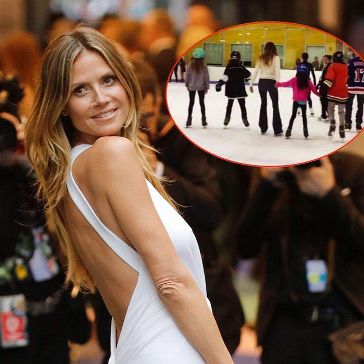 Sportliche Mama: Heidi Klum fährt mit ihren Kindern Schlittschuh