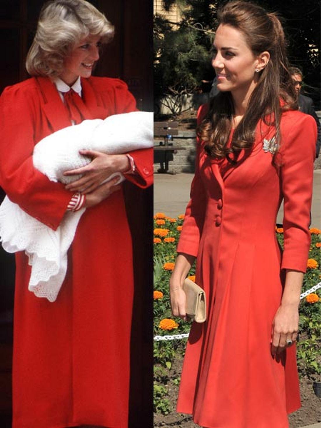 Lady Diana trug nach der Geburt von Prinz Harry ein rostrotes Kleid