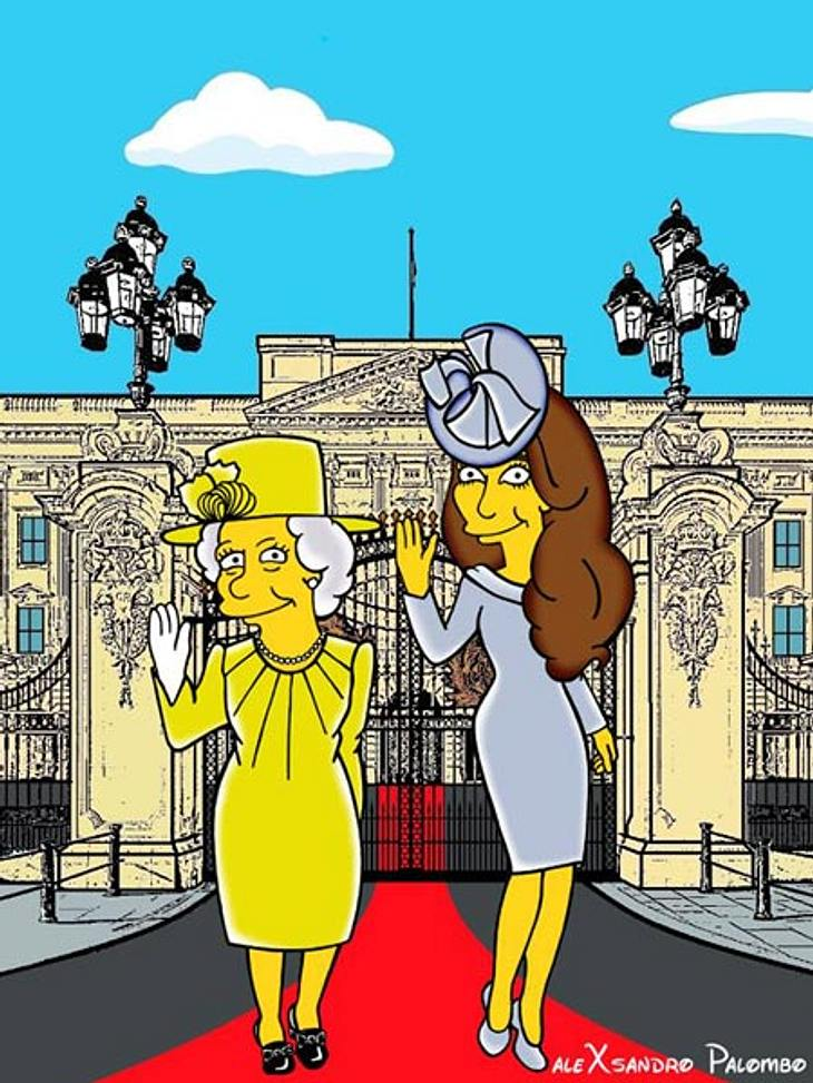 Herzogin Kate und die Queen als Simpsons-Figuren
