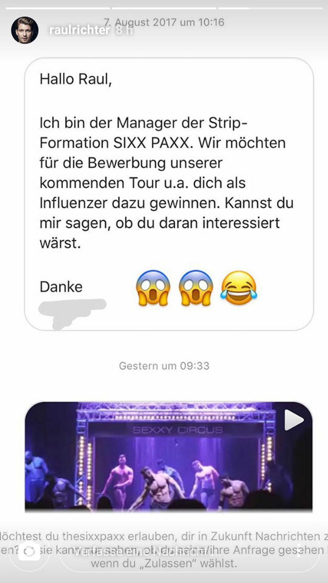 Raul Richter bekam eine Anfrage von den Sixx Paxx