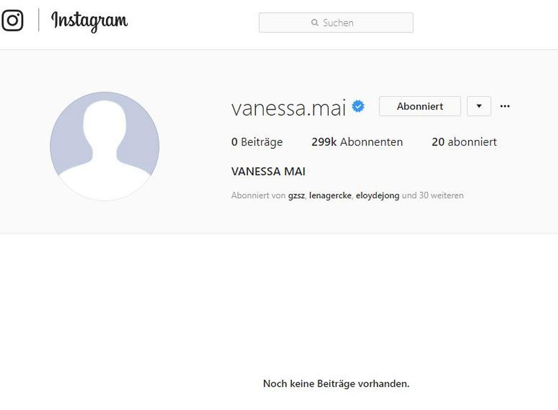 Leere: So sieht es momentan auf Vanessa Mais Social-Media-Profilen aus