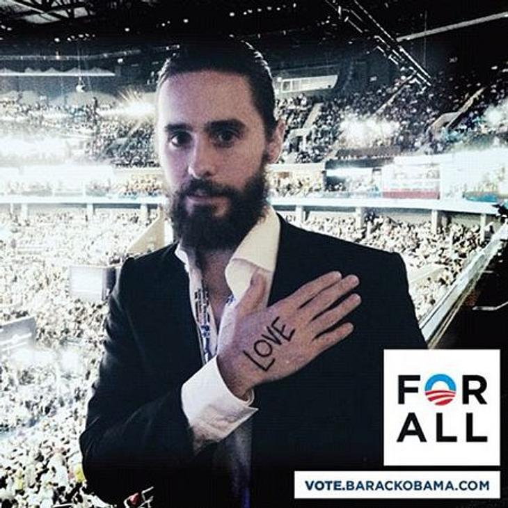 Obama vs. Romney: Welchen Präsidenten wählen die Stars?Hand aufs Herz! Jared Leto wählt Barack Obama und macht aktiv beim Wahlkampf mit.