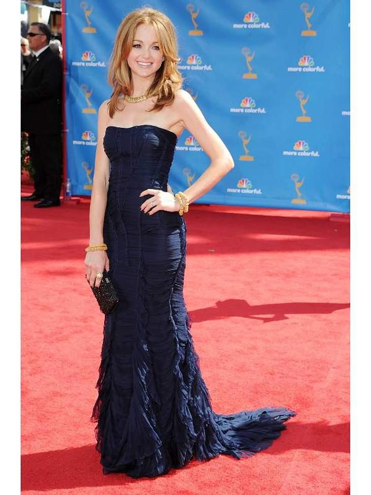 """Elegant in Nachtblau: Serien-Schauspielerin Jayma Mays (31,  """"Glee"""")."""