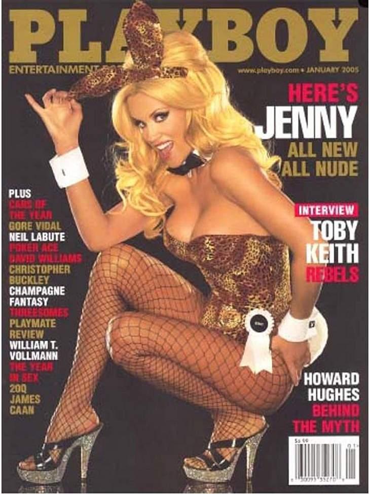 Jim-Carreys Ex und Model Jenny McCarthy im traditionellen Bunny-Kostüm auf dem Titelblatt des 2005 erschienenen US-Playboy.
