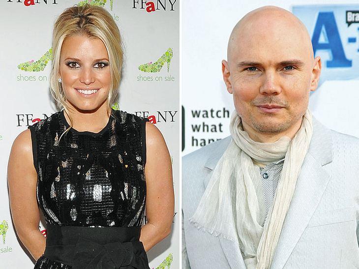 """Ein ungleiches Paar: Jessica Simpson soll sich total in """"Smashing Pumpkins""""-Sänger Billy Corgan verliebt haben"""