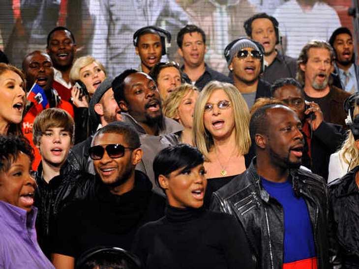 Justin Bieber - Seine schönsten Momente: Februar 2010,In guter Gesellschaft: Justin Bieber singt zusammen mit Stars wie Celine Dion, Usher, Katherine Mc Phee, will.i.am, Toni Braxton, Barbra Streisand und und und. Um Spenden für Haiti zu sa