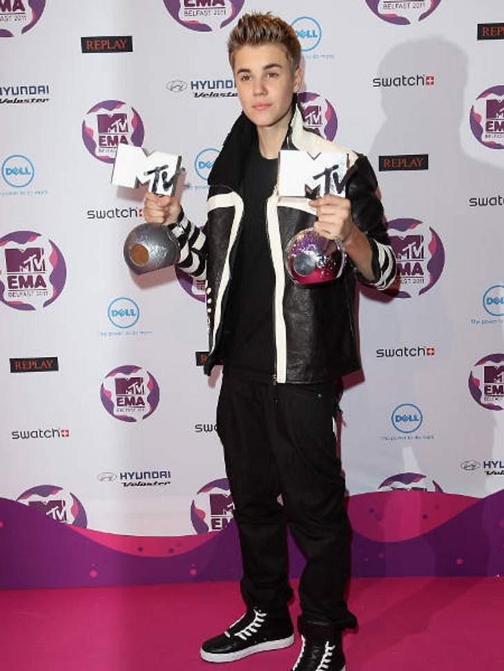 EMAs 2011Justin Bieber bekam nur zwei Preise und wurde bei seiner Rede auch noch ausgebuht.