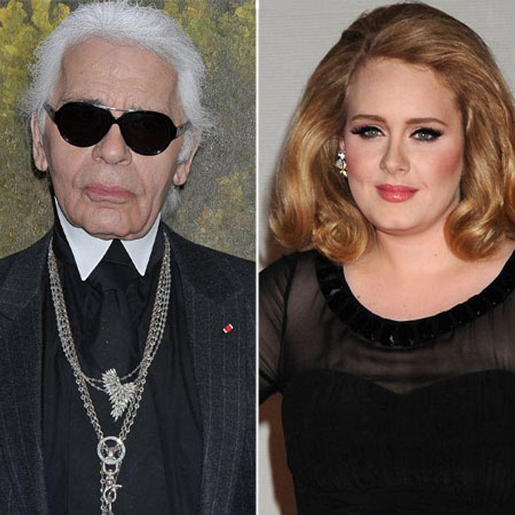 """Die Läster-Attacken der StarsMode-Zar Karl Lagerfeld ist für seine spitze Zunge bekannt und gefürchtet, aber bei dieser Attacke gegen Adele (24) hat sich der Designer vielleicht auf etwas zu dünnes Eis begeben. """"Adele ist derzeit voll"""