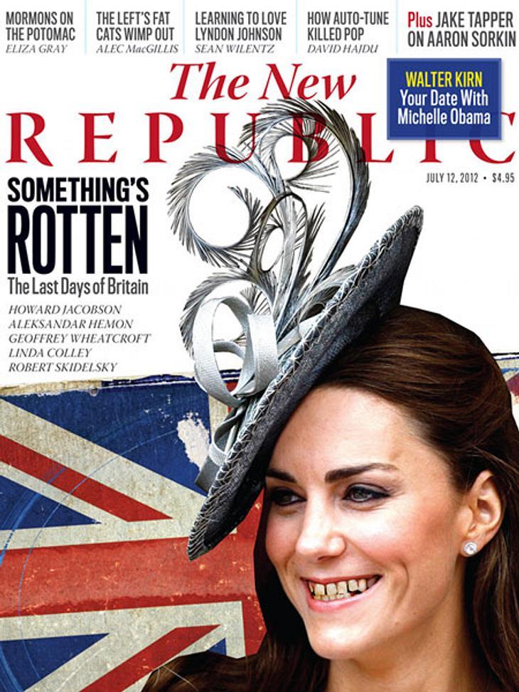 """Igitt! Muss Herzogin Catherine (30) etwa mal dringend wieder zum Zahnarzt?Keine Sorge: Mit Kates Zähnen ist alles in Ordnung. Es handelt sich nur um eine gewöhnungsbedürftige Foto-Montage des US-Politmagazin """"The New Republic"""". Di"""